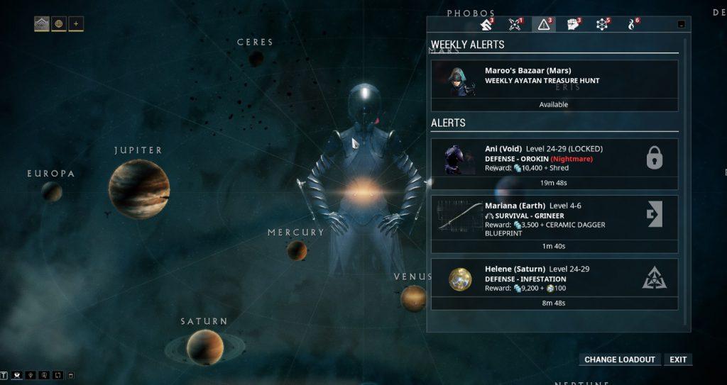 Una mappa del sistama solare e un elenco delle missioni disponibili