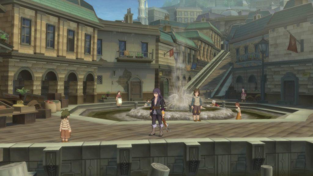 yuri lowell nella piazza dei quartieri poveri di fronte alla fontana