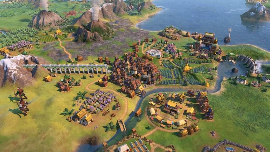 Immagine di Civilization VI: Gathering Storm che mostra la cenere rilasciata da un vulcano.