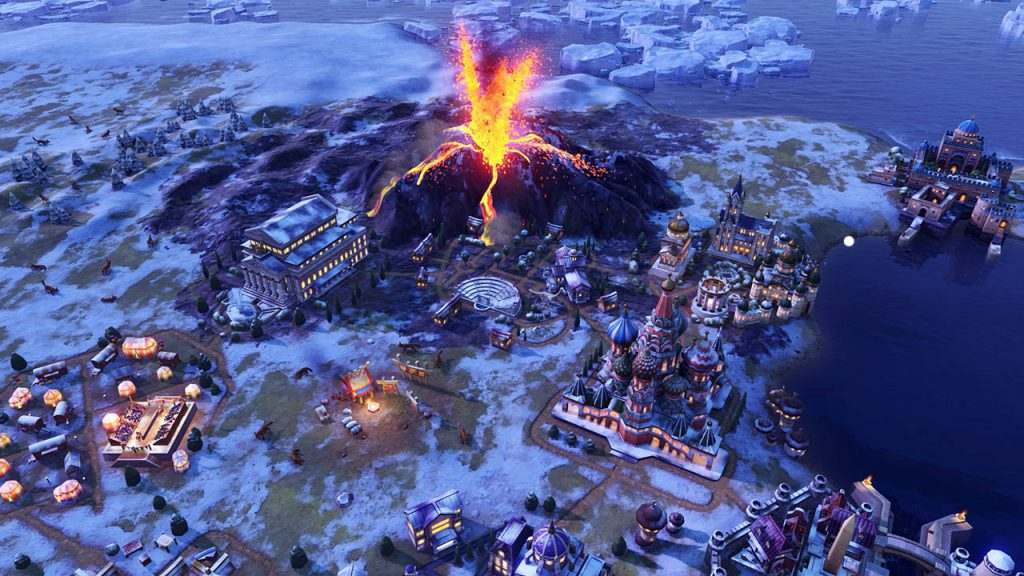 Vulcano in eruzione in Civilization VI: Gathering Storm