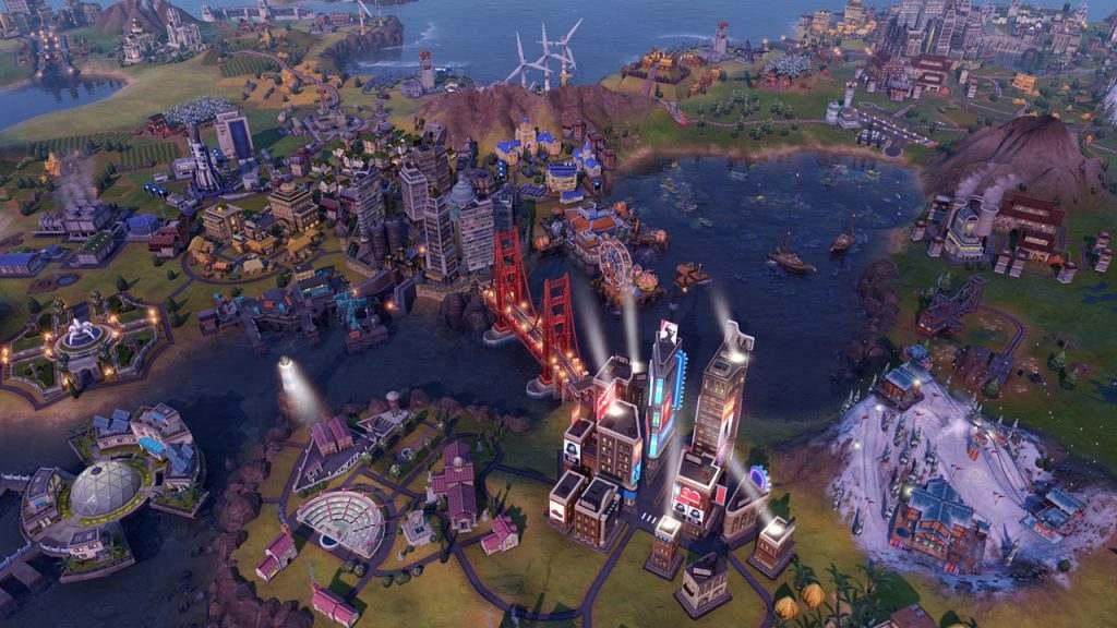 Immagine di Civilization VI: Gathering Storm che mostra in dettaglio una città moderna con un ponte sospeso.
