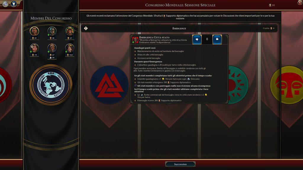 Schermata del Consiglio Mondiale in Civilization VI: Gathering Storm
