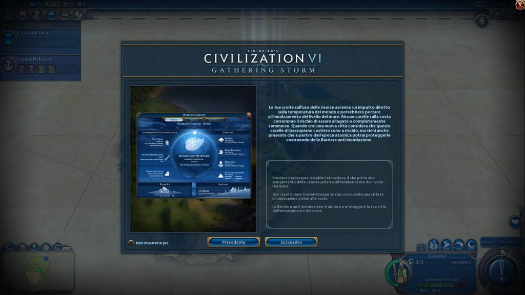 Una schermata del tutorial di Civilization VI: Gathering Storm
