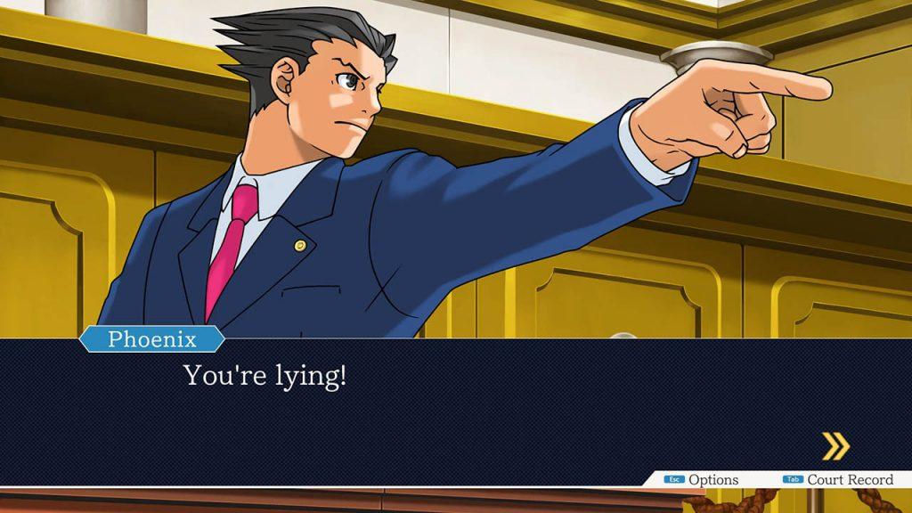 Phoenix Wright nella sua iconica posa mentre presenta un obiezione.