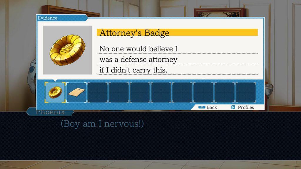Menu di gioco di Ace Attorney che mostra il distintivo d'avvocato.