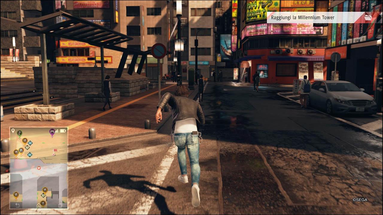 yagami corre per le strade di kamurocho