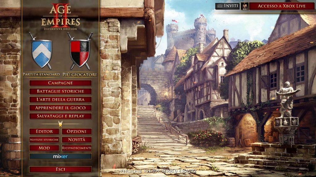 Menu di gioco di Age of Empire 2: Definitive Edition