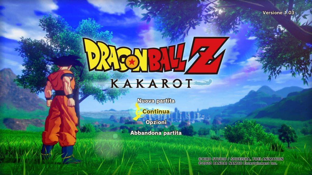 Schermata principale del videogioco Kakaroth