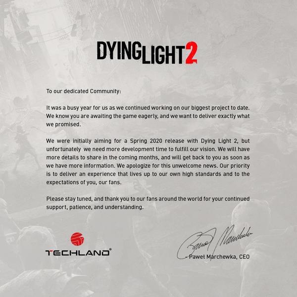 Il comunicato stampa di Dying Light 2.
