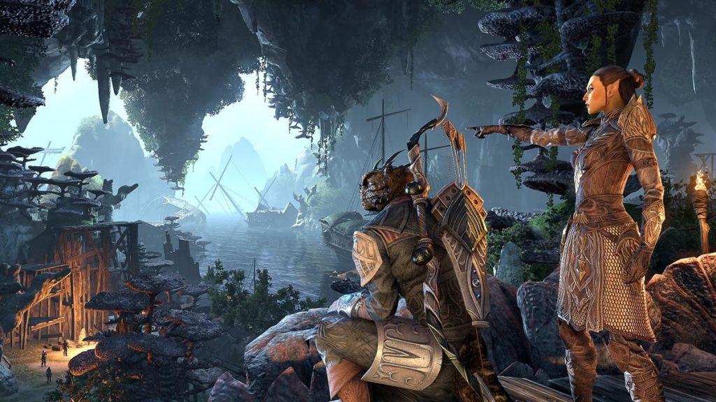 Elfo e argoniano in The Elder Scrolls Online