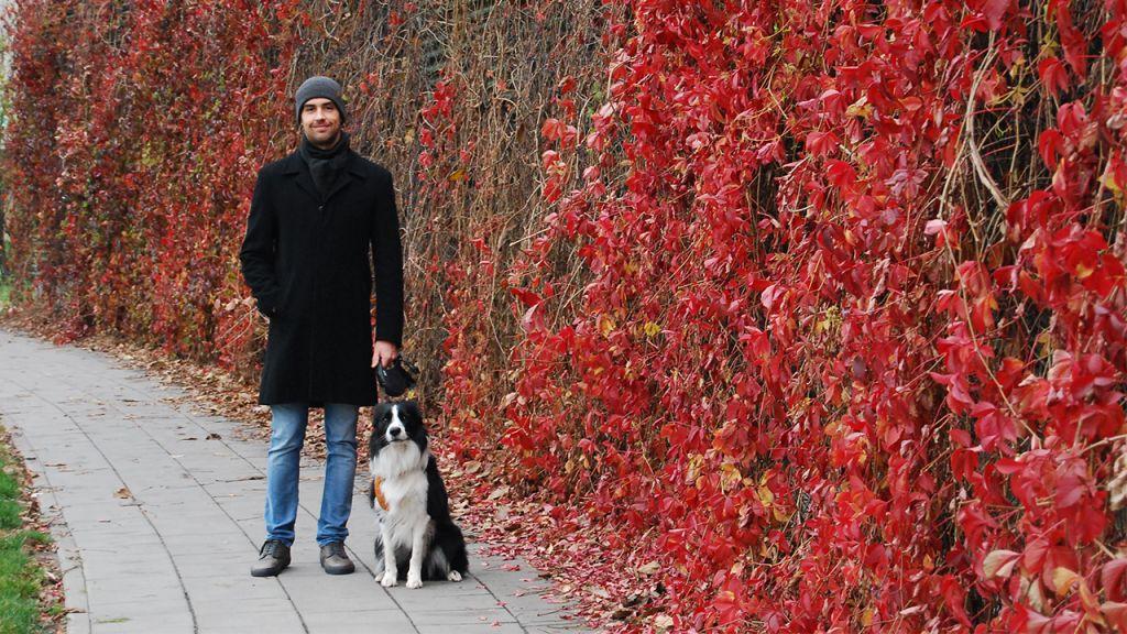 Michał e il suo Border Collie Milo