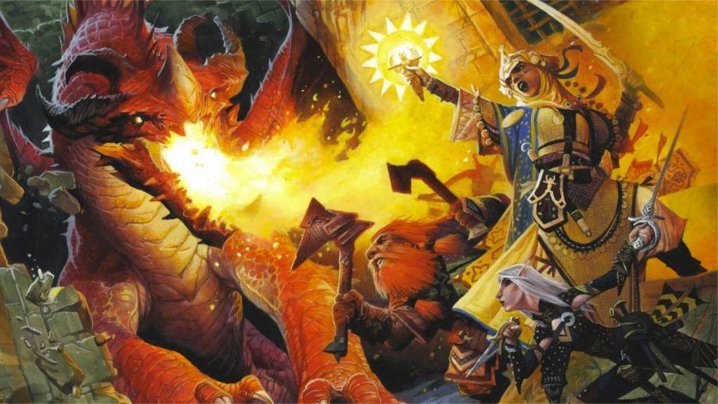 Kyra e gli altri eroi di Pathfinder combattono un drago rosso