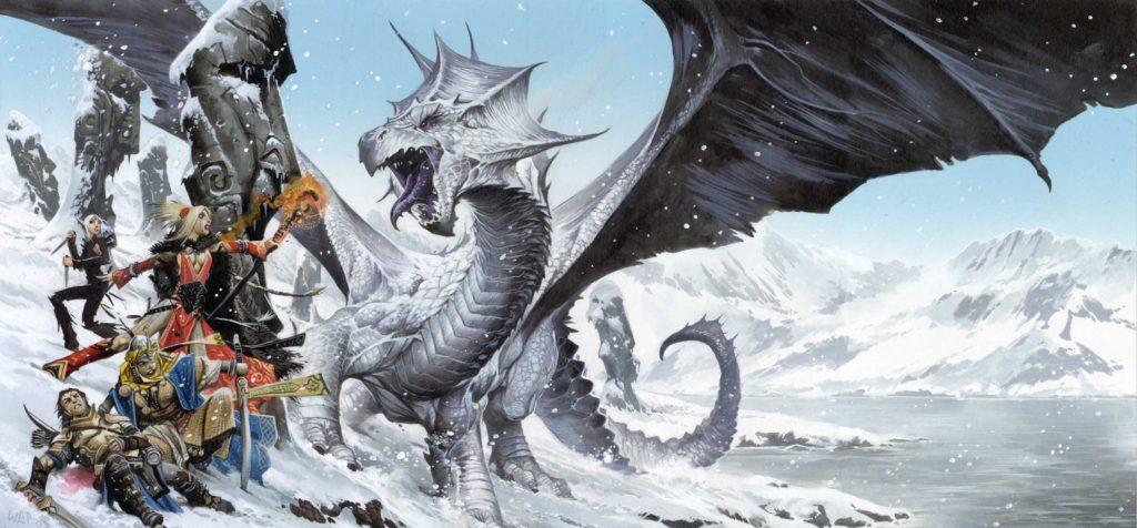 Un drago bianco ferisce Valeros, eroe di Pathfinder 2