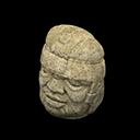 Volpolo - Testa di roccia - Testa colossale Olmeca - Il falso sorride
