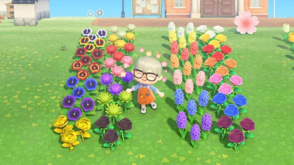 Esempi di fiori di diverse specie e colori in Animal Crossing New Horizons