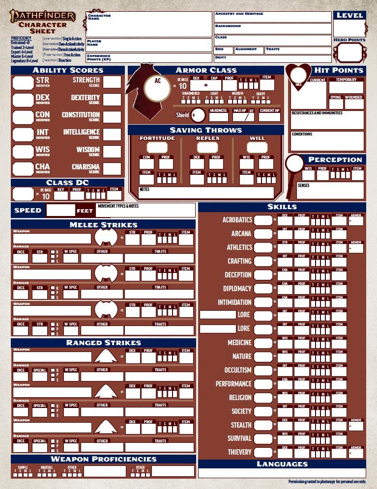 Pathfinder 2 Edizione Scheda personaggio